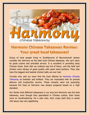 Harmony Chinese Takeaway Review: Your great local takeaway!