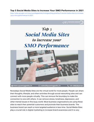 Top 5 Social Media Sites to Increase Your SMO Performance in 2021