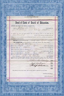 1880 Bond of Clerk of Board of Education, Arthur D. Stanley, Washington County, Ohio