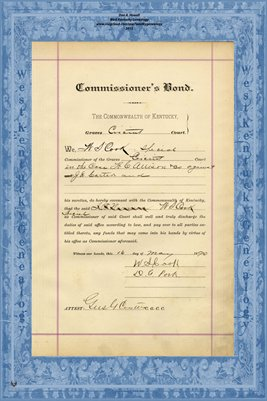 1890 Commissioner's Bond, W.S. Cook, Graves County, Kentucky