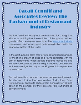 Bacall Conniff and Associates Review: The Background of Restaurant Industry