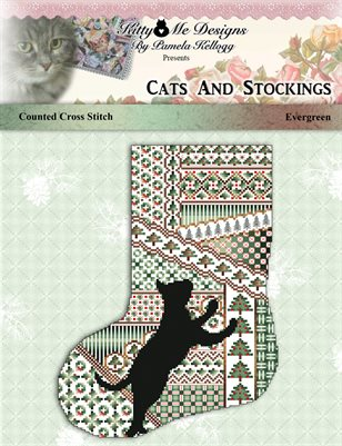 Cats And Stockings Evergreen Cross Stitch Pattern