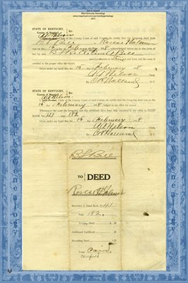1918 Deed, Bell to Holmes, Marshall County, Kentucky