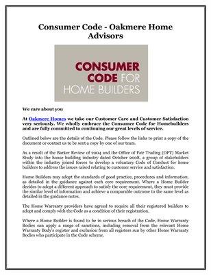 Consumer Code - Oakmere Home Advisors