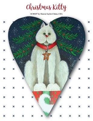 Christmas Kitty Primitive Heart Painting Tutorial by Sharon Chinn