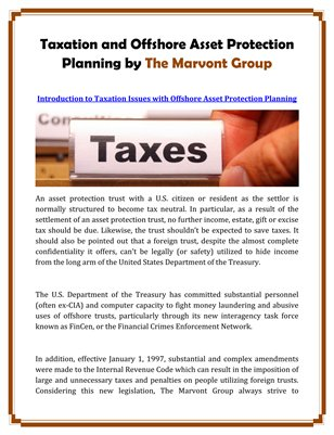 Taxation and Offshore Asset Protection Planning by The Marvont Group