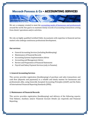 Mossack Fonseca & Co - ACCOUNTING SERVICES