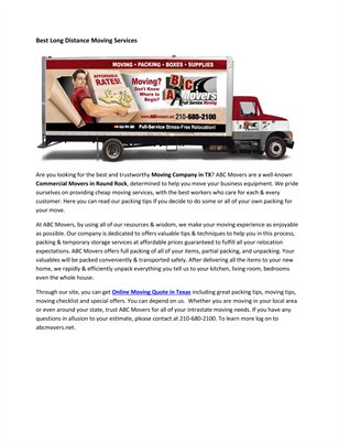 Moving Companies in Antonio Texas