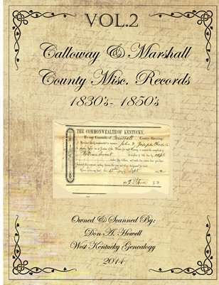 VOL.2 1830's - 1850's Marshall & Calloway Misc. Records