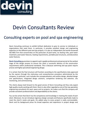 Devin Consultants Review: Consulting experts on pool and spa engineering