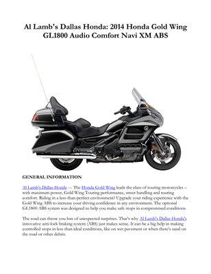 Al Lamb's Dallas Honda: 2014 Honda Gold Wing GL1800 Audio Comfort Navi XM ABS