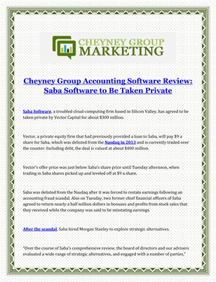 Cheyney Group Accounting Software Review Saba Software to Be Taken Private