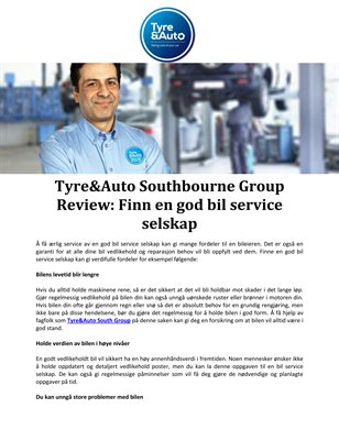 Tyre&Auto Southbourne Group Review: Finn en god bil service selskap