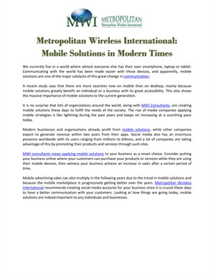 Metropolitan Wireless International: Mobile Solutions in Modern Times