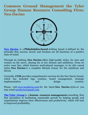 Common Ground Management the Tyler Group Human Resource Consulting Firm: Neo Daviso