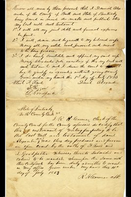 1853 Will of Daniel Alexander of Bath County, Kentucky