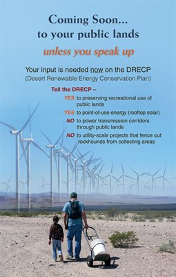 """Brochure: Tell DRECP, """"don't fence me out"""" - protect the Calif desert and rockhounds' access to it"""