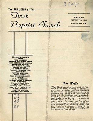 Aug. 8th, 1948, First Baptist Church Bulletin