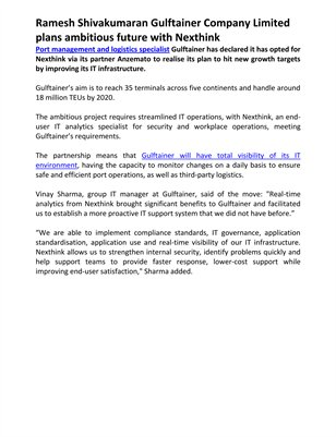 Ramesh Shivakumaran Gulftainer Company Limited plans ambitious future with Nexthink