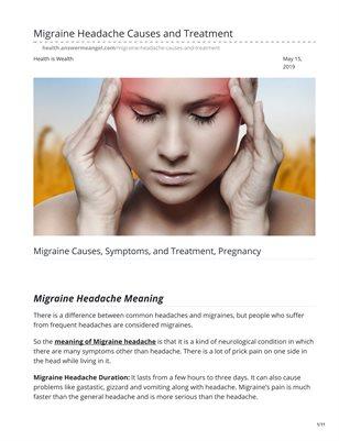 Migraine Headache Causes and Treatment