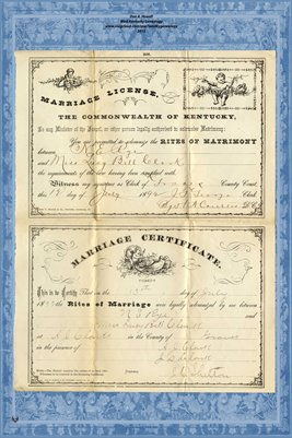 1892 Marriage License & Certificate, N.E. Rye and Miss Lucy Bell Clark