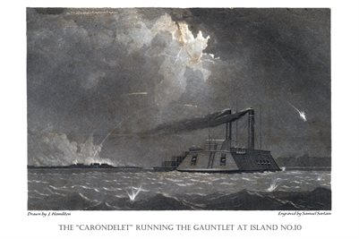 """THE """"CARONDELET"""" RUNNING THE GAUNTLET AT ISLAND NO.10"""
