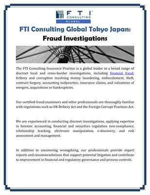 FTI Consulting Global Tokyo Japan: Fraud Investigations