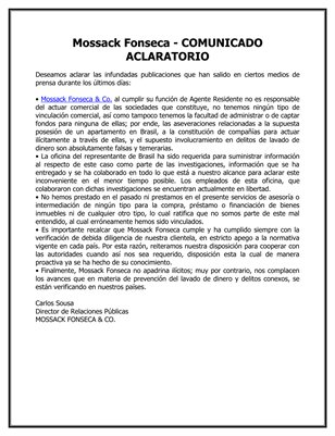 Mossack Fonseca - COMUNICADO ACLARATORIO