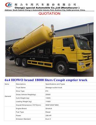 6x4 HOWO brand 18000 liters Cesspit emptier truck
