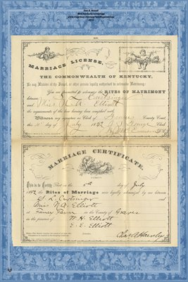 1892 Marriage License & Certificate, S.L. Curtsinger and Miss N.A. Elliott