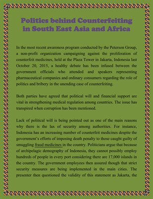 Politics behind Counterfeiting in South East Asia and Africa