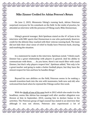 Mike Zimmer Credited for Adrian Peterson's Return