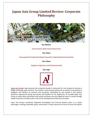 Japan Asia Group Limited Review: Corporate Philosophy