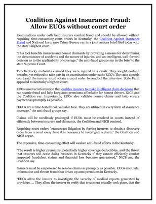 Coalition Against Insurance Fraud: Allow EUOs without court order