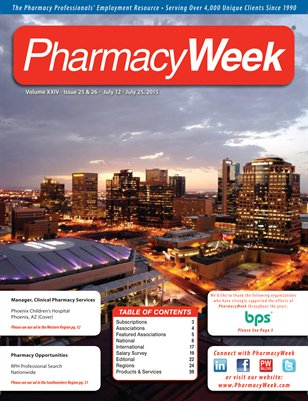 Pharmacy Week, Volume XXIV - Issue 25 & 26 - July 12 - July 25, 2015