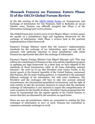 Mossack Fonseca on Panama: Enters Phase II of the OECD Global Forum Review