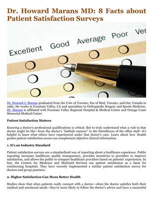 Dr. Howard Marans MD: 8 Facts about Patient Satisfaction Surveys