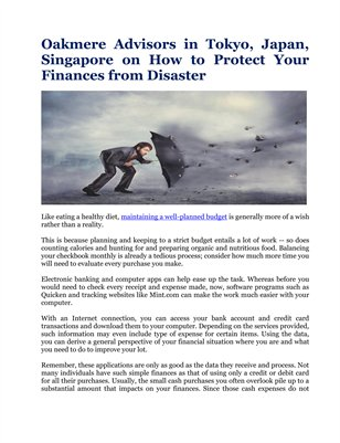 Oakmere Advisors in Tokyo, Japan, Singapore on How to Protect Your Finances from Disaster