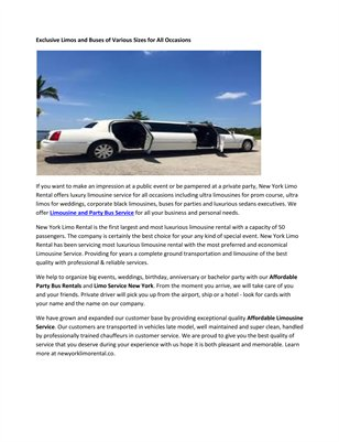 Limousine And Party Bus Service