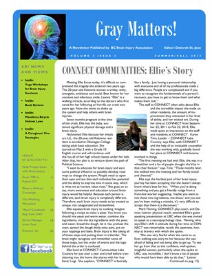 Gray Matters Newsletter Magazine: Brain Injury