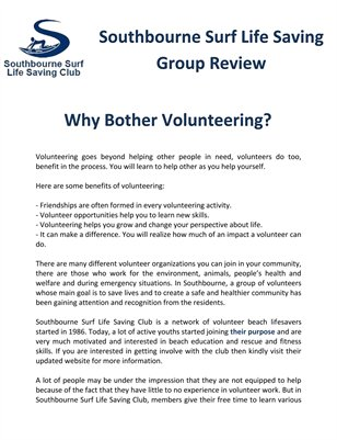 Southbourne Surf Life Saving Group: Why Bother Volunteering?