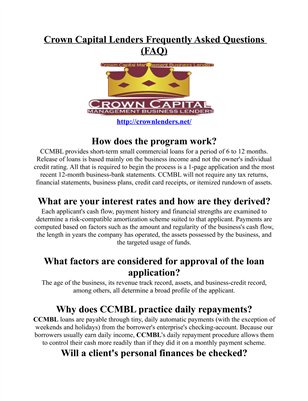 Crown Capital Management Lenders Frequently Asked Questions (FAQ)