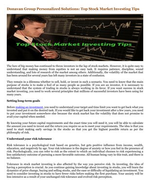 Donavan Group Personalized Solutions: Top Stock Market Investing Tips