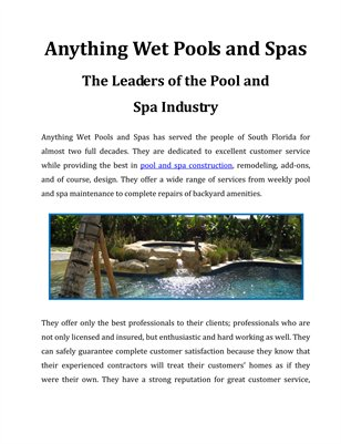 Anything Wet Pools & Spas - The Leaders of the Pool and Spa Industry