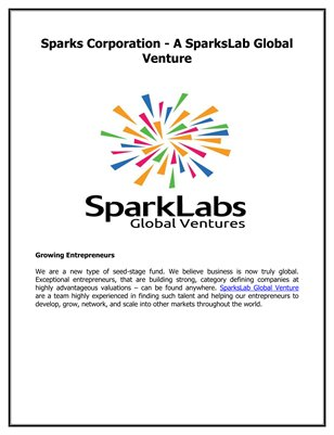 Sparks Corporation - A SparksLab Global Venture