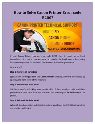How to Solve Canon Printer Error code B200?