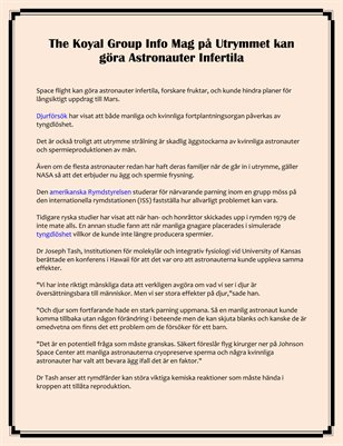 The Koyal Group Info Mag på Utrymmet kan göra Astronauter Infertila