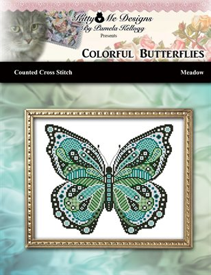 Colorful Butterflies Meadow Counted Cross Stitch Pattern