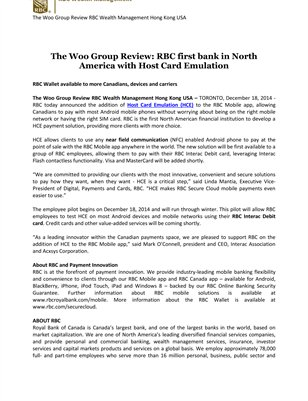 The Woo Group Review: RBC first bank in North America with Host Card Emulation