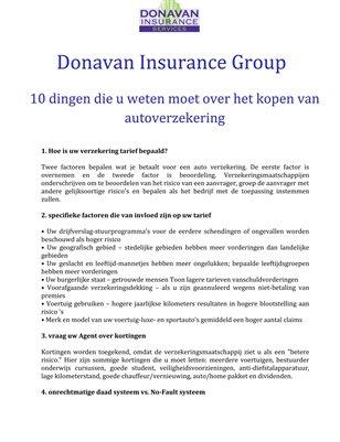 Donavan Insurance Group: 10 dingen die u weten moet over het kopen van autoverzekering
